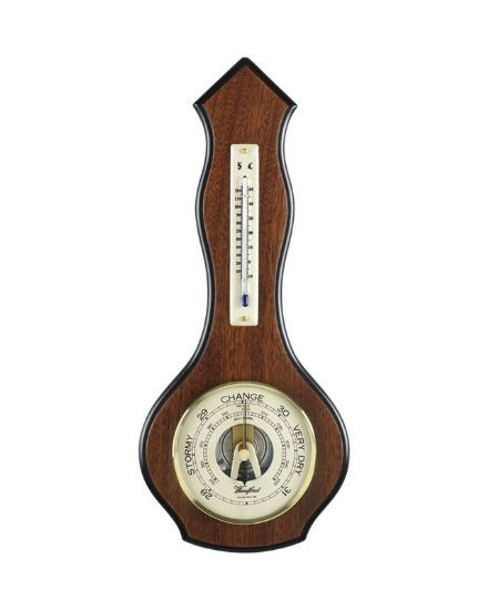 Wavey Arrow Shaped Veneered Barometer with Thermometer